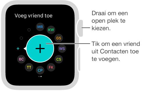 Het vriendenscherm op de AppleWatch. U kunt op de initialen of de foto van een vriend tikken om met hem of haar te communiceren.