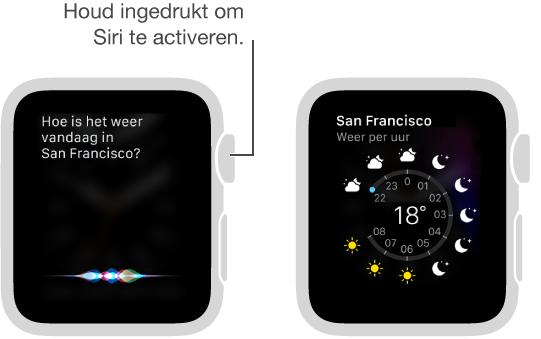 U kunt de DigitalCrown ingedrukt houden en Siri een vraag stellen. Schermen waarin Siri wordt gevraagd hoe het weer in een plaats is en waarin informatie over het weer vandaag in die plaats wordt getoond.