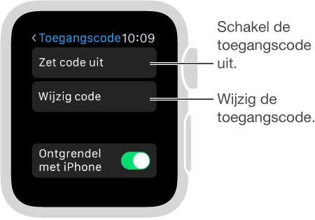 Het scherm met instellingen voor de toegangscode op de AppleWatch. Bijschriften voor 'Zet code uit' en 'Wijzig code'.