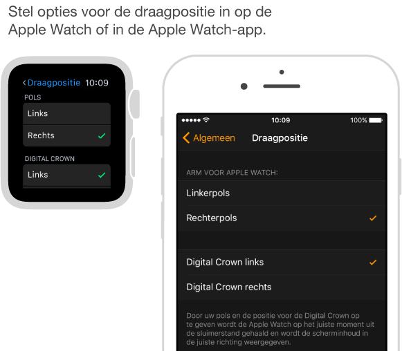Twee schermen: een met de instellingen voor de draagpositie op de AppleWatch en een met de vergelijkbare instellingen op de iPhone. U kunt instellen om welke pols u de AppleWatch draagt en aan welke kant de DigitalCrown zich bevindt.