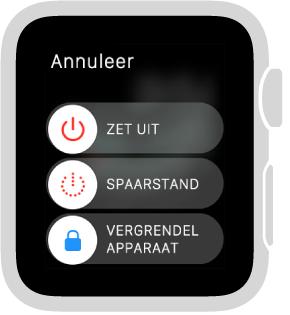 Het scherm met schuifknoppen, met een Annuleer-knop linksboven en drie schuifknoppen: 'Zet uit' bovenaan, 'Spaarstand' in het midden en 'Vergrendel apparaat' onderaan.