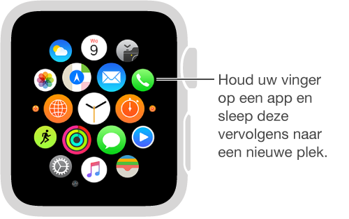 AppleWatch-beginscherm met bewegende apps van dezelfde grootte. U kunt apps naar een andere plek slepen.
