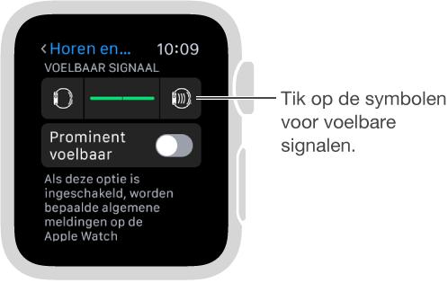 Scherm met instellingen voor 'Horen en voelen', waar u omlaag kunt scrollen naar 'Voelbaar signaal' en vervolgens op de intensiteitssymbolen kunt tikken om de intensiteit van tikken aan te passen.