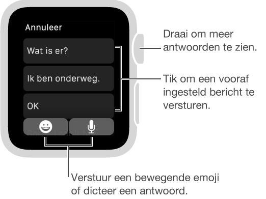 Berichten-scherm, met bovenaan de knop 'Annuleer' en daaronder drie standaardantwoorden ('Wat is er?', 'Ik ben onderweg' en 'OK'). Twee knoppen onderaan: Emoji en microfoon.