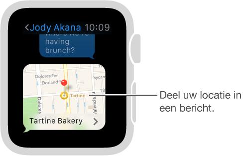 Berichten-scherm met een kaart waarop te zien is waar de afzender zich bevindt. Druk stevig op het scherm om uw locatie in een gesprek te versturen.