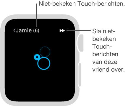 U kunt met uw vinger op het scherm tikken om een vriend een of meer tikjes te sturen.