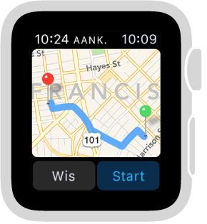 Wanneer u een routebeschrijving opvraagt, laat Kaarten de voorgestelde route zien, met daaronder de knoppen 'Wis' en 'Start'.