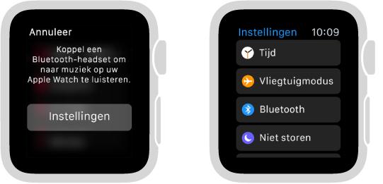 Als u de muziekbron instelt op AppleWatch voordat u Bluetooth-luidsprekers of een Bluetooth-headset koppelt, verschijnt er midden op het scherm een knop 'Instellingen'. Met deze knop kunt u rechtstreeks naar de Bluetooth-instellingen op uw AppleWatch, zodat u een luisterapparaat kunt toevoegen.