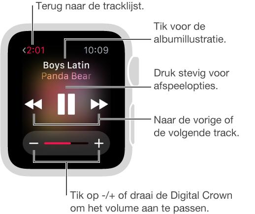 Wanneer er muziek wordt afgespeeld, tikt u op de terugknop linksboven om terug te gaan naar de tracklijst. In het midden van het scherm bevinden zich knoppen voor de vorige track, voor afspelen of onderbreken en voor de volgende track. Draai de DigitalCrown om het volume aan te passen. U kunt op het scherm drukken om nummers in willekeurige volgorde af te spelen of te herhalen of om over te schakelen van uw iPhone naar uw AppleWatch voor het afspelen van nummers.