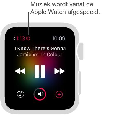 Wanneer u muziek afspeelt die op uw AppleWatch is opgeslagen, verschijnt er linksbovenin naast de verstreken speeltijd een klein horlogesymbool.