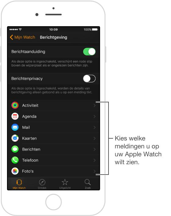 In de AppleWatch-app op uw iPhone staat een lijst met apps waarvoor meldingen kunnen verschijnen. Tik op 'MijnWatch'> 'Berichtgeving' en scrol omlaag.