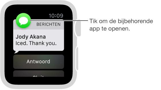 Het symbool van de app waar de melding bij hoort, verschijnt linksboven. U kunt erop tikken om de inhoud van de melding in de app te openen.