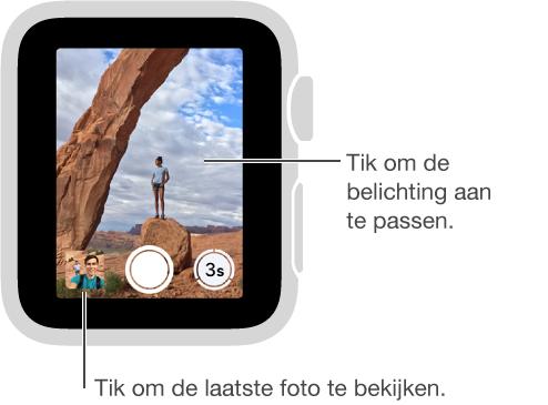 Wanneer het zoekerscherm van de camera-afstandsbediening op uw AppleWatch wordt afgebeeld, bevindt de sluiterknop zich middenonder en de zelfontspannerknop rechts. Als u een foto hebt gemaakt, verschijnt er linksonder een miniatuurafbeelding van de foto.