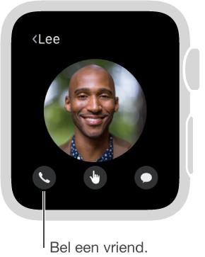 Scherm met de foto van een gekozen vriend, met daaronder knoppen om te bellen, om DigitalTouch te gebruiken en om een bericht te sturen. Tik op de telefoon om deze vriend te bellen.