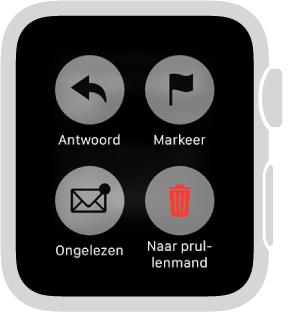 Wanneer u een bericht op uw AppleWatch leest, kunt u op het scherm drukken om het als ongelezen te markeren, met een vlag te markeren of te verwijderen.
