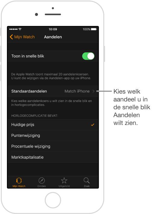 U kunt hetzelfde standaardaandeel instellen als op uw iPhone of een ander aandeel selecteren.