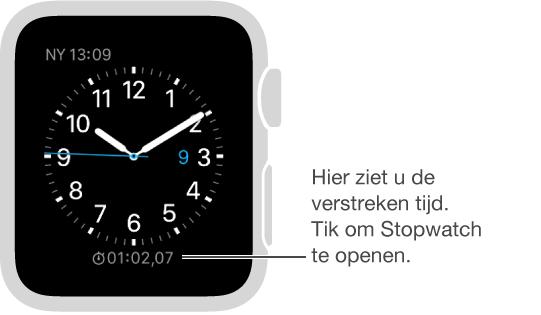 U kunt een stopwatch aan uw wijzerplaat toevoegen en erop tikken om de Stopwatch-app te openen.