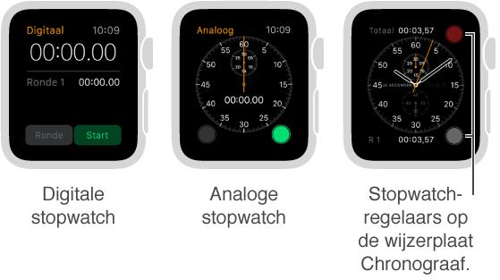 Drie voorbeelden van een stopwatch: een digitale stopwatch in de app, een analoge stopwatch in de app en stopwatchregelaars op de wijzerplaat Chronograaf.