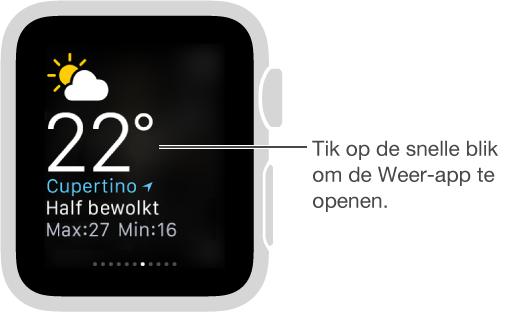 Scherm met de snelle blik Weer, met een bijschrift dat aangeeft dat u op de snelle blik kunt tikken om de Weer-app te openen.