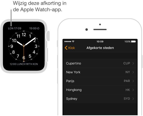 Wijzerplaat met een bijschrift voor de tijd in Londen, waarvoor de afkorting LON wordt gebruikt. In de afbeelding ernaast is het scherm in de AppleWatch-app op de iPhone te zien, waar u de afkorting van steden kunt wijzigen.