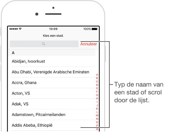 Scherm van de Klok-app op uw iPhone, waar u steden aan de Wereldklok-app kunt toevoegen.