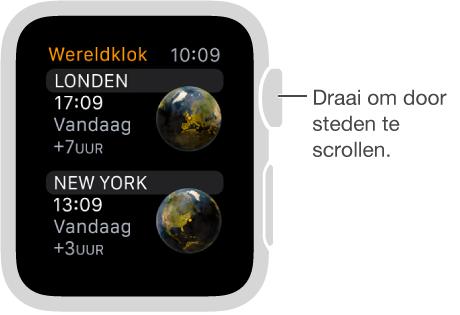 Afbeelding van de Wereldklok-app, met een scrolbare lijst met steden. Draai de DigitalCrown om omhoog of omlaag te scrollen. Tik om een stad te selecteren.