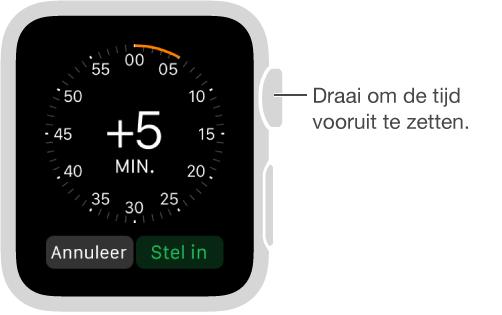 In het gedeelte 'Tijd' van de Instellingen-app kunt u de DigitalCrown draaien om de tijd die op uw wijzerplaat wordt weergegeven vooruit te zetten.