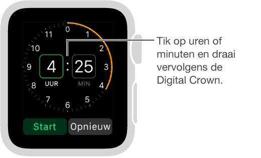 Tik op de uren of de minuten en draai vervolgens de DigitalCrown om een timer in te stellen.
