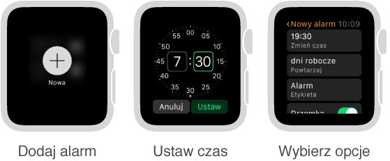 Pięć ekranów AppleWatch ilustrujących proces dodawania alarmu. Naciśnij, aby dodać alarm; obróć Digital Crown, aby ustawić czas; ustaw opcje; ustaw opcje powtarzania; włącz drzemkę.
