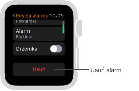 Ekran edycji alarmu; przewiń na dół, aby usunąć alarm.