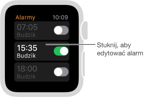 Ekran alarmów zawierający trzy alarmy oraz przełączniki służące do ich włączania iwyłączania.