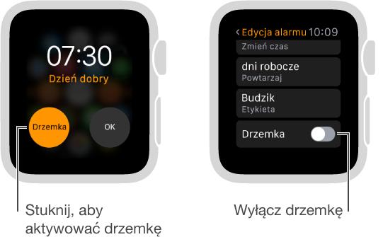 Dwa ekrany zegarka: pierwszy wyświetla tarczę zprzyciskiem drzemki alarmu. Drugi zawiera ustawienia edycji alarmu pozwalające włączyć lub wyłączyć drzemkę.