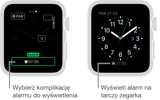 Dwa ekrany: pierwszy ilustrujący sposób ustawiania opcji alarmu dodawanego do tarczy zegarka; drugi pokazujący czas alarmu na tarczy zegarka.