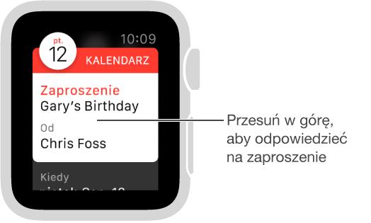 Przyciski Przyjmij, Może iOdrzuć są wyświetlane na dole zaproszeń kalendarza. Aby przejść do nich, przesuń palcem lub obróć Digital Crown.