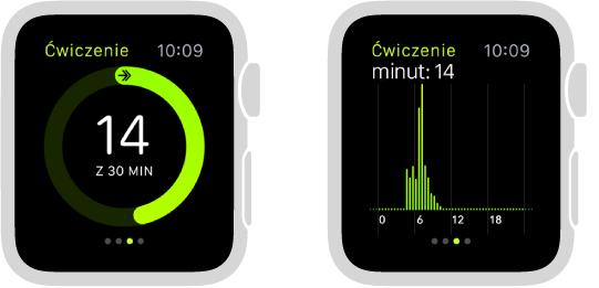 Postęp treningu prezentowany jako pierścień lub wykres na ekranie skrótu Aktywność.