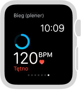 Aby sprawdzić tętno podczas treningu, możesz przesunąć palcem po dolnej połowie ekranu.