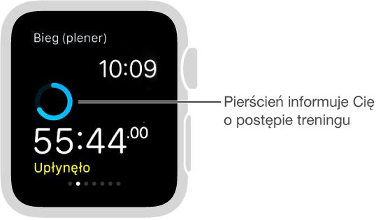 Podczas treningu możesz przesunąć palcem po ekranie, aby sprawdzić jego postęp (albo sprawdzić tętno).