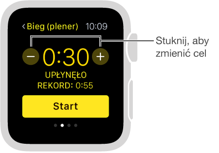 Wartość celu (czasu, dystansu lub spalonych kalorii) możesz ustawiać, stukając wprzyciski zsymbolami plusa iminusa.