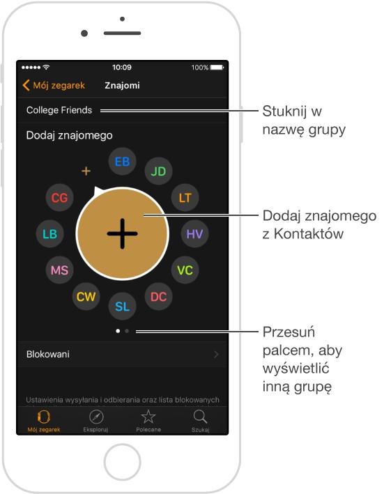 Ekran Znajomi wprogramie AppleWatch, zawierający znajomych zekranu wielozadaniowości oraz przycisk dodawania nowych znajomych.
