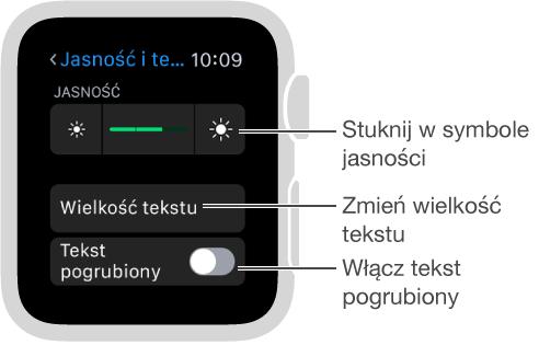 Ekran ustawień jasności na AppleWatch; opis symboli jasności po obu stronach suwaka: Stuknij wsymbole jasności; opis opcji wielkości tekstu: Dostosuj wielkość tekstu; opis opcji tekstu pogrubionego: Włącz tekst pogrubiony.