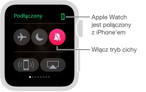 Skrót Ustawienia, zawierający status połączenia między zegarkiem iiPhone'em oraz przyciski włączania trybów Samolot, Nie przeszkadzać iWycisz. Pozwala on także przywoływać iPhone'a. Wybrana jest opcja wyciszenia.