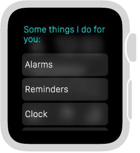 Siri odpowiada przewijalną listą przycisków kategorii tematycznych. Aby przejrzeć przykłady zdanej kategorii, stuknij wnią.