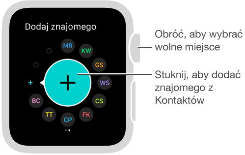 Ekran Znajomi na AppleWatch. Aby skontaktować się ze znajomym, stuknij wjego inicjały lub zdjęcie.
