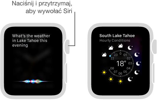 Aby zadać pytanie Siri, naciśnij Digital Crown, przytrzymaj imów. Ekrany pokazujące pytanie opogodę nad jeziorem Tahoe oraz odpowiedź Siri zaktualnymi informacjami pogodowymi dla jeziora Tahoe.