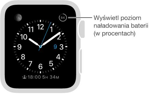 Tarcza zegarka zkomplikacją poziomu baterii.