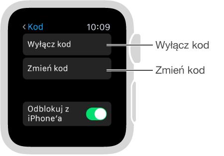 Ekran ustawień kodu na AppleWatch. Wskaźniki na opcjach Wyłącz kod iZmień kod.