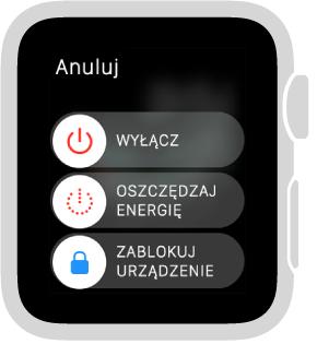 Ekran suwaków zprzyciskiem Anuluj wgórnym lewym rogu oraz trzema suwakami: (od góry) Wyłącz, Oszczędzaj energię oraz Zablokuj urządzenie.