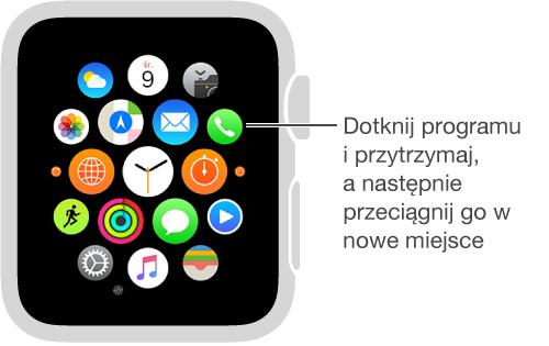 Ekran początkowy AppleWatch zdrżącymi ikonami programów (jednakowej wielkości). Możesz przeciągać ikony programów wnowe miejsca.