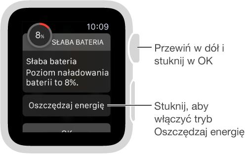 Alert oniskim poziomie energii zawiera przycisk pozwalający włączyć tryb oszczędzania energii.