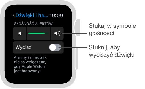 Ekran ustawień dźwięku ihaptyki na AppleWatch. Aby zmienić poziom głośności dzwonków ialertów, obróć Digital Crown lub stukaj wsymbole głośności. Aby wyciszyć AppleWatch, stuknij wWycisz.